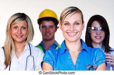 scienziato, dottore, multi-profession, -, ingegnere, donna d'affari, sorridente, macchina fotografica