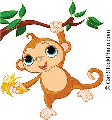 scimmia, bambino, albero