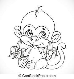 scimmia bambino, isolato, carino, sfondo bianco, delineato, banana