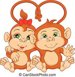 scimmia, cartone animato, coppia, carino