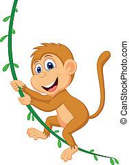 scimmia, cartone animato, oscillazione, carino
