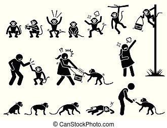 scimmia, figura, pictogram, bastone, umano, cliparts.