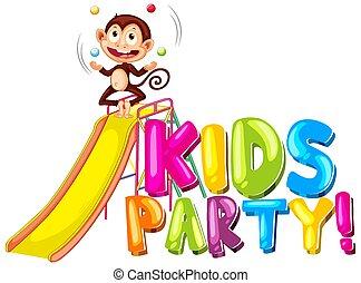 scimmia, manipolazione, festa, disegno, bambini, diapositiva, font, parola