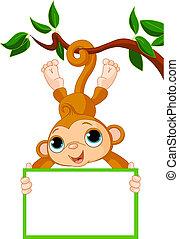 scimmia, presa a terra, albero, bambino, vuoto