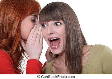 scioccante, condivisione, segreto, donne