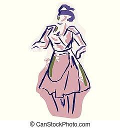 sciolto, art., lineart, stile, equipaggiamento, anni cinquanta, retro, 1950s, illustration., casalinga, modello, disegnato, mano, clip, vendemmia, elegante, donna