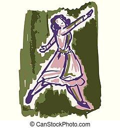 sciolto, art., signora, lineart, stile, equipaggiamento, anni cinquanta, retro, 1950s, illustration., modello, disegnato, mano, clip, vendemmia, donna