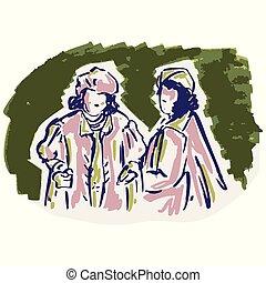 sciolto, vendemmia, art., lineart, stile, anni cinquanta, retro, 1950s, illustration., modello, disegnato, mano, clip, moda, signore, donna
