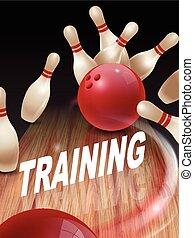 sciopero, bowling, illustrazione, 3d