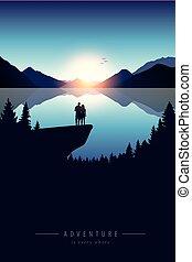 scogliera, avventura, lago montagna, natura, coppia, vista