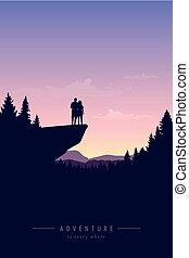 scogliera, avventura, vista, coppia, montagna, natura