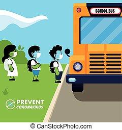 scolari, maschere, autobus