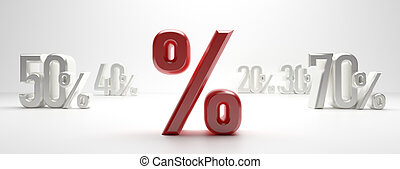 %, scontare, testo, concept., percento, vendita, illustrazione, fondo., bianco, spazio, 3d