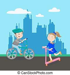 scooter., bambini, city., ragazzo, illustrazione, bicycle., vettore, sentiero per cavalcate, ragazza, gioco, felice