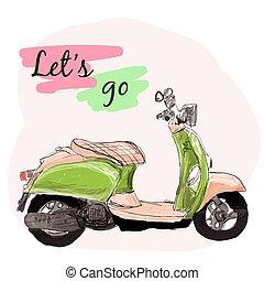 scooter, vettore, retro, illustration.