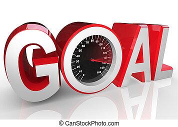 scopo, successo, tachimetro, rapidamente, da corsa, realizzazione
