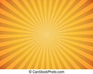 scoppio, sole, giallo, fondo., luminoso, vettore, orizzontale