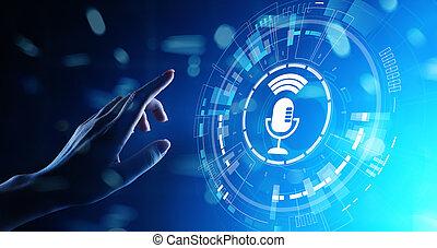 screen., riconoscimento, controllo, ricerca, simbolo, voce, microfono, virtuale