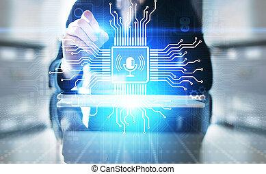 screen., simbolo, virtuale, riconoscimento voce, ricerca, microfono, controllo
