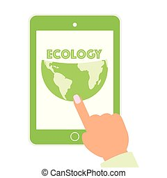 screen., white., contenuto, tutto, designed., eco, presa a terra, zero, isolato, computer, spreco, ecologia, risparmiare, mani, tavoletta, pianeta, digitale, schermo, concetto