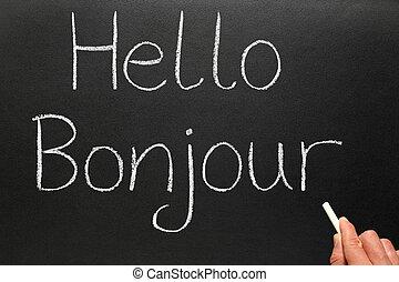 scritto, bonjour, blackboard., ciao, francese