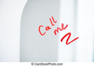scritto, chiamata, specchio, parte, rossetto, chiedere, cremisi, rosso, o