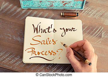 ?, scritto mano, testo, what's, tuo, vendite, processo