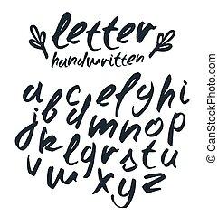 scritto mano, vettore, spazzola, manoscritto