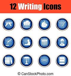 scrittore, set, icone