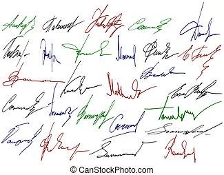 scrittura, firma, segni