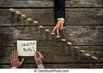 scrittura, messaggio, uomo affari, mano, maschio, su, legno, grande, incoraggiante, suo, scala, sogno, dita, camminare, blocco note