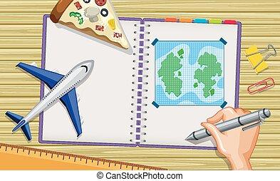 scrittura, modello, su, quaderno, mano, scrivania, aereo, chiudere, programma corsa, fondo