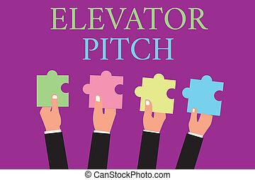 scrittura, pece, persuasivo, testo, circa, scrittura, pitch., riassunto, significato, discorso, vendite, concetto, prodotto, ascensore