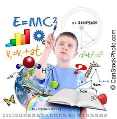 scrittura, scienza, ragazzo, scuola, educazione