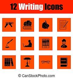 scrittura, set, icone