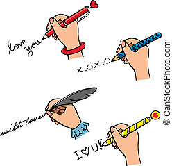 scrittura, set, mano