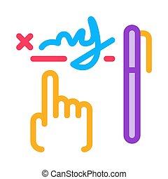scrittura, vettore, illustrazione, icona, contorno, grafico, analisi