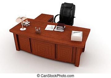 scrivania, bianco, esecutivo, 3d