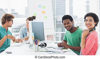 scrivania, creativo, artisti, lavorando ufficio