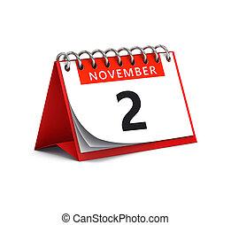 scrivania, data, carta, pagina, -, novembre, 2, interpretazione, rosso, 3d, calendario