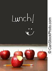 scrivania scolastica, cima, mele
