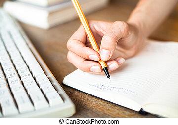 scrive, tastiera, fondo., computer penna, quaderno, mani