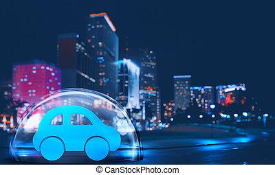 scudo, città, giocattolo, dentro, protezione, automobile, concetto, tranquillamente, cupola, assicurazione, night.