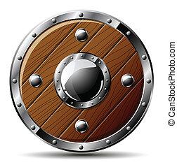 scudo, legno, -, isolato, bianco, rotondo