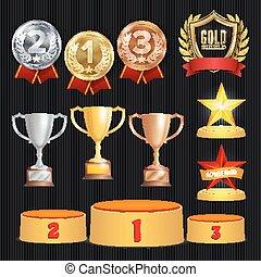 scudo, oro, ghirlanda, 2, 1, alloro, achievement., cerimonia, 3, set., trofei, ranks., realizzazione, campionato, premio, podium., bronzo, collocamento, stars., vettore, posto, argento, dorato