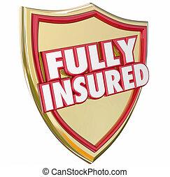 scudo, oro, pienamente, assicurato, copertura, politica, assicurazione