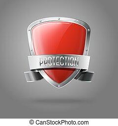 scudo, protezione, realistico, isolato, grigio, fondo., vettore, lucido, vuoto, bordo, argento, nastro, rosso