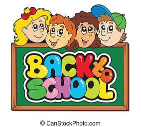 scuola, 5, tema, indietro