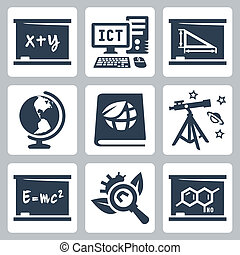 scuola, algebra, geometria, icone, ecologia, biologia, astronomia, vettore, fisica, geografia, chimica, ict, soggetti, set: