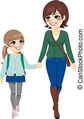scuola, andare, figlia, madre